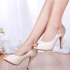 Special offer clearance spring and summer new fish mouth women's shoes leather waterproof platform women's sandals high-heeled rhinestone office OL women's shoes