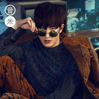 音米防紫外线偏光太阳镜男圆框复古潮人眼镜女 方脸明星同款墨镜