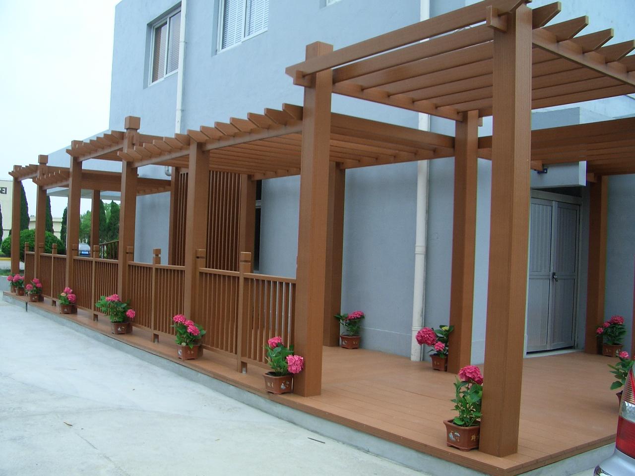 户外塑木葡萄架 庭院顶楼花园廊架 防腐木葡萄架 花架木塑长廊