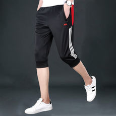 Cropped trousers men's sports shorts summer casual loose large size breathable pants summer thin section pants 7 pants