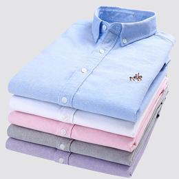 欧保罗男士衬衫短袖夏季纯棉衣服牛津纺休闲五分半袖衬衣外套寸