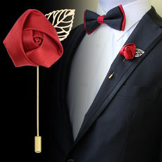 Suit accessories European and American fashion Wedding dinner Reception Rose brooch Corsage Men and women Blue Red