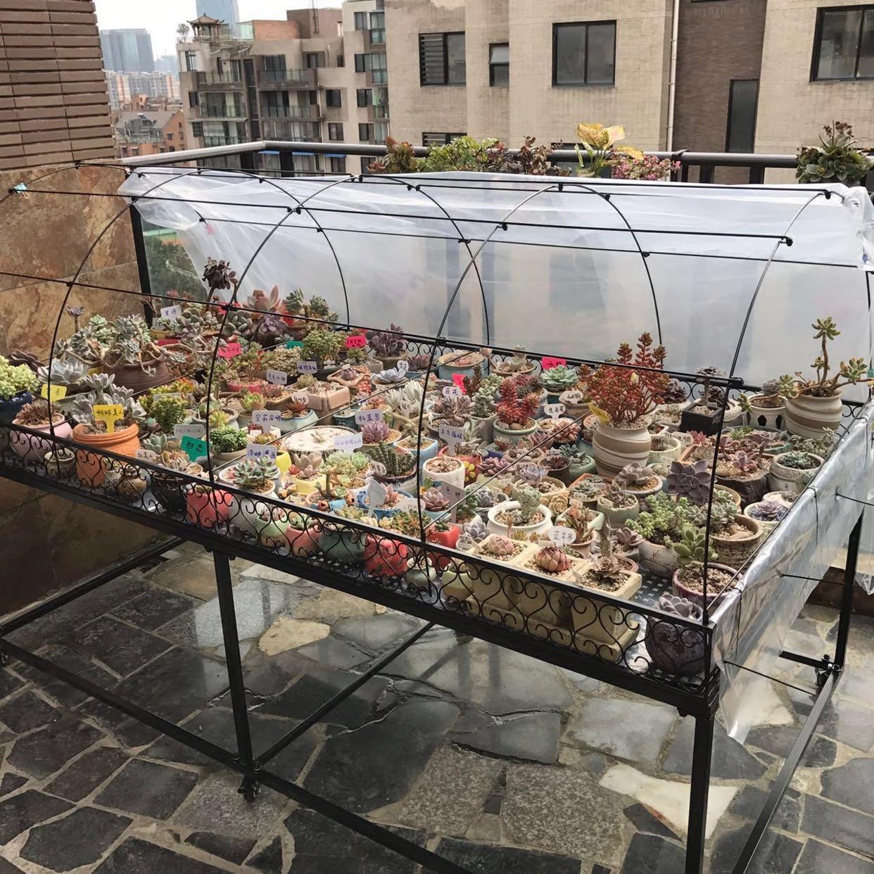 定做阳台楼顶多肉中小型可移动花架带轮花棚防雨防晒防鸟防虫保温