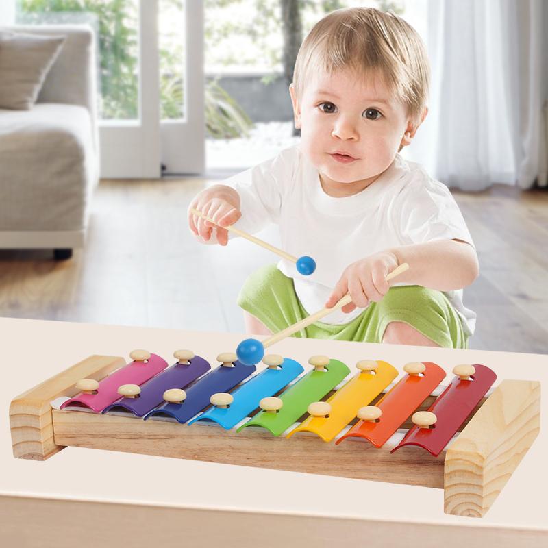木质制宝宝八音琴乐器台车早教男女婴儿童益智敲琴玩具0-1-2-3岁