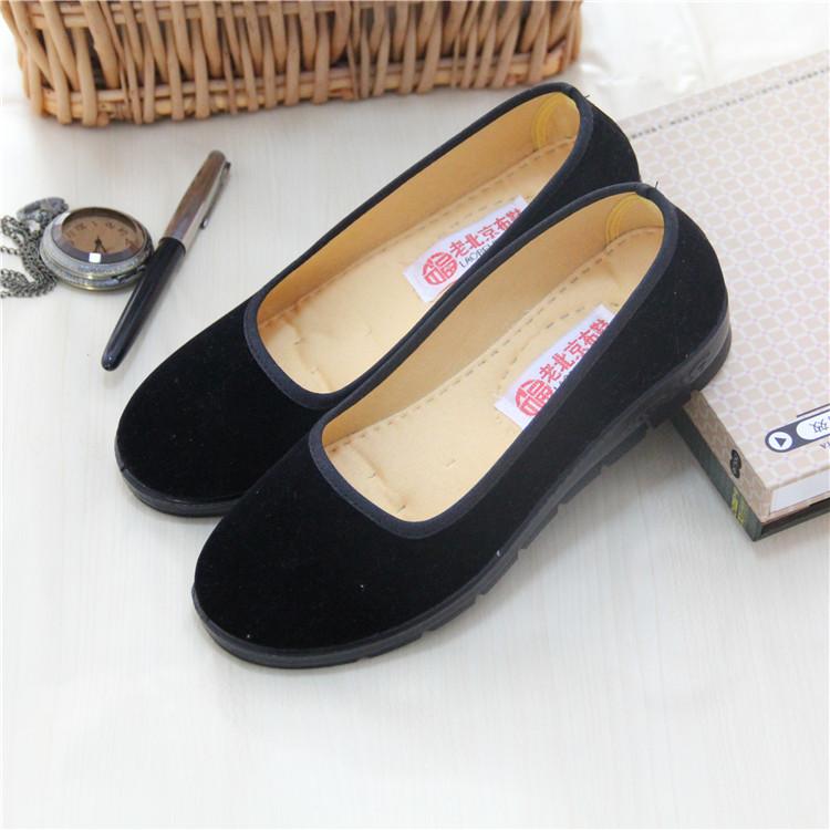 正品老北京布鞋女鞋经典工作鞋黑色方口单鞋软底防滑舞蹈鞋跳舞鞋