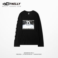 Ulzzang Korea spring and autumn trend HIPHOP street dance skateboard loose hip hop long-sleeved T-shirt bottoming shirt men's clothing