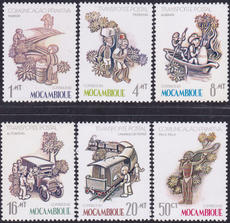 Mozambique 1983 Series Transportation Cars Boats Rail Hiking 6 new CUB27