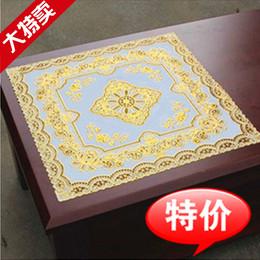 PVC软质床头柜盖布床柜垫茶几桌布镂空烫金蕾丝桌垫角几台布欧式