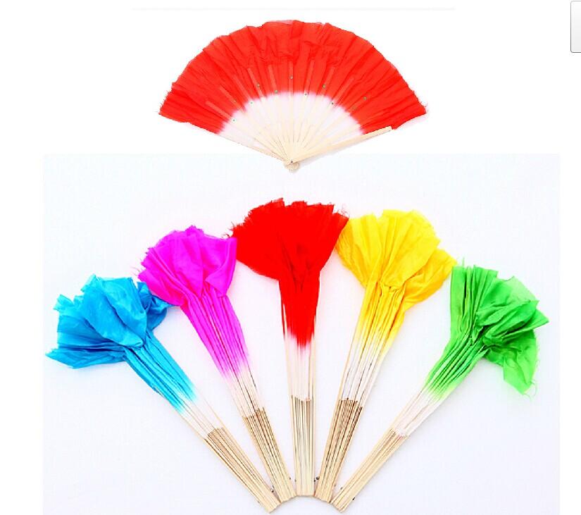 秧歌舞花灯舞扇子舞蹈的扇子彩色竹子双层仿绸抛光头青精品带亮片