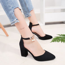 High heels female spring 2018 new women's shoes wild thick with shoes Korean students Baotou ladies Roman sandals