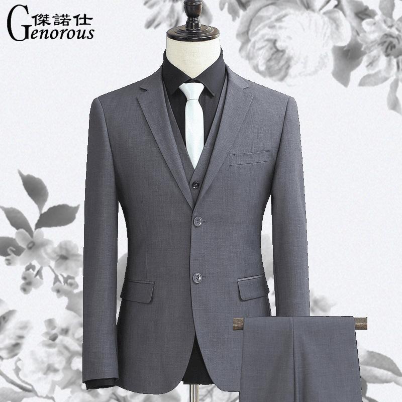 西服套装男士三件套灰色修身西装商务正装职业装工装四季伴郎礼服