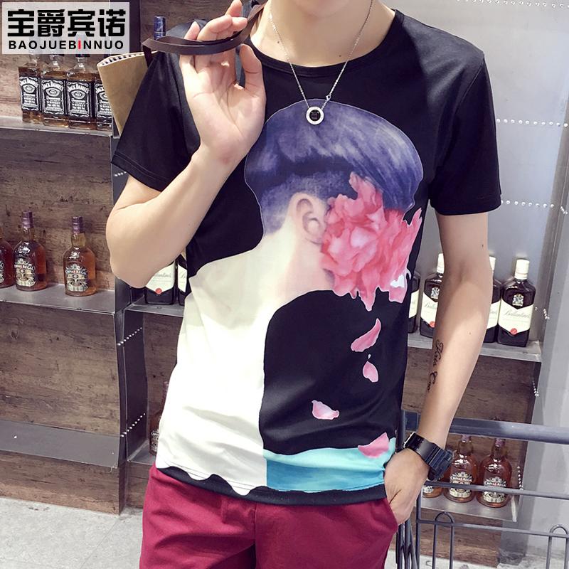 男士短袖T恤男装半袖潮流体恤春夏季圆领个性印花打底衫上装外衣