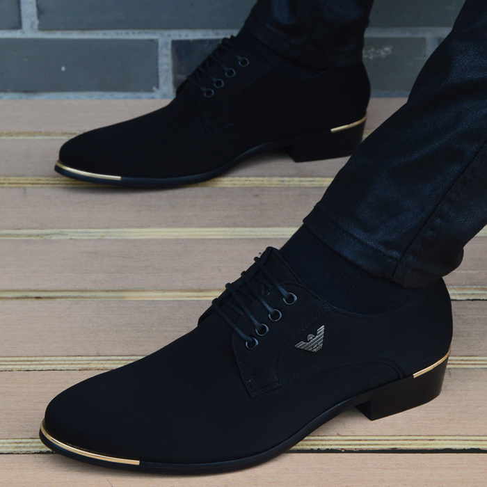 男士商务休闲皮鞋男布面英伦黑色尖头系带时尚韩版透气内增高男鞋