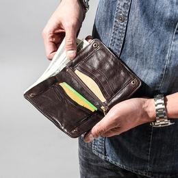 复古钱包男短款真皮做旧原创青年男士皮夹子竖款按扣全牛皮钱夹潮