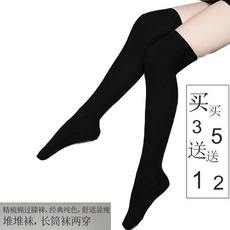 Knitted cotton throwing socks cos long tube over knee socks Japanese thick black high socks female stovepipe can not fall off slippery autumn and winter
