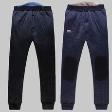 Middle-aged and velvet padded trousers warm pants men's trousers middle-aged high waist men wearing thick cotton pants large size winter pants