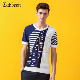 卡宾男装圆领套头撞色短袖针织T恤夏季个性休闲潮流青年透气线衫
