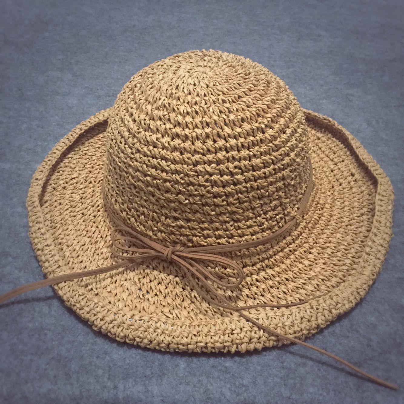 夏季手工钩针草帽韩版拉菲草手工编织沙滩帽出游防晒帽女太阳帽子