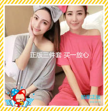 2018 spring new Korean version of the loose bow hair band casual suit three-piece honeymoon pajamas home service