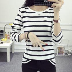 秋装新款女装韩版白色条纹长袖t恤女t修身体恤上衣打底衫衣服小衫