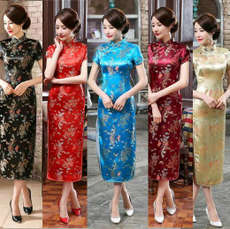 Brocade brocade long phoenix cheongsam cheongsam cheongsam photo cut color Tang suit dress short sleeve ceremonial clothing long cheongsam