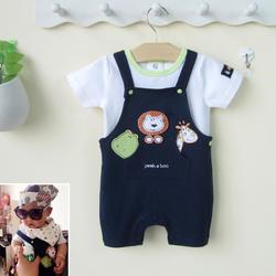 0一1-2岁可爱男婴儿夏天潮款衣服男宝宝夏装背带裤子套装6-12个月