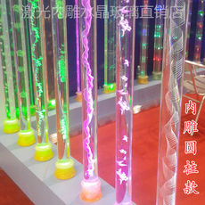 Laser fine grinding 3D engraved crystal column Glass column decorative column lamp post cylindrical home decoration living room partition porch