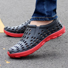 Summer casual shoes new men's hole shoes Korean version of the trend of breathable cool shoes men's non-slip beach shoes student shoes