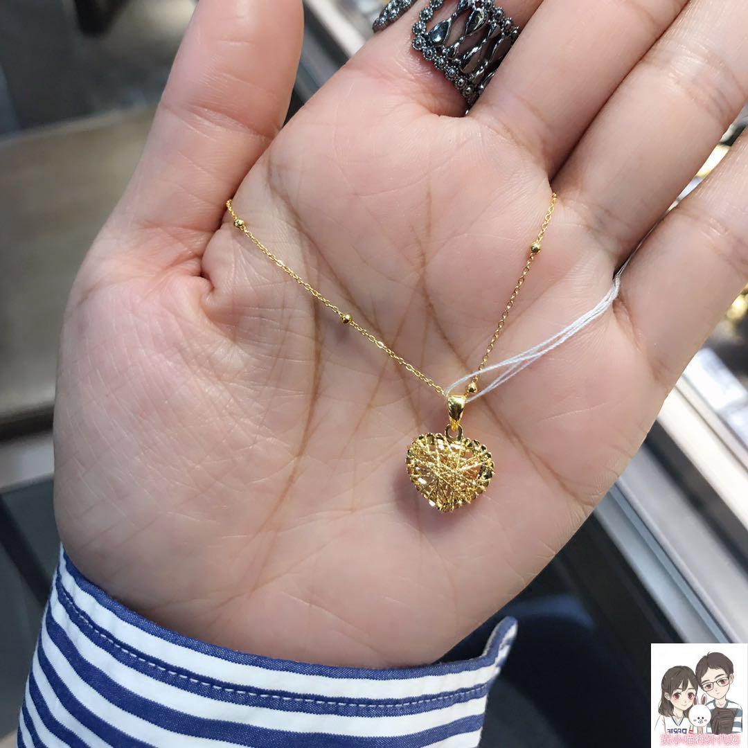 香港代购六福珠宝18K黄金/玫瑰金镂空拉丝立体爱心吊坠一网情深