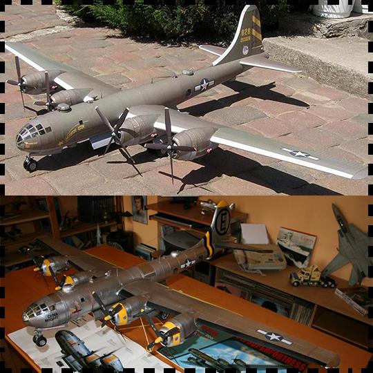 美国B29超级空中堡垒轰炸机 纸模型 1:33飞机模型 军武宅 手工DIY