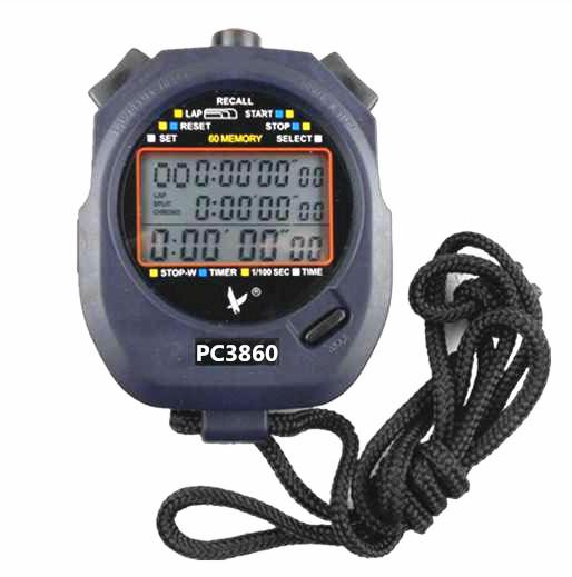 天福秒表PC3860三排60道秒表防水 多功能电子秒表计时器 跑步跑表