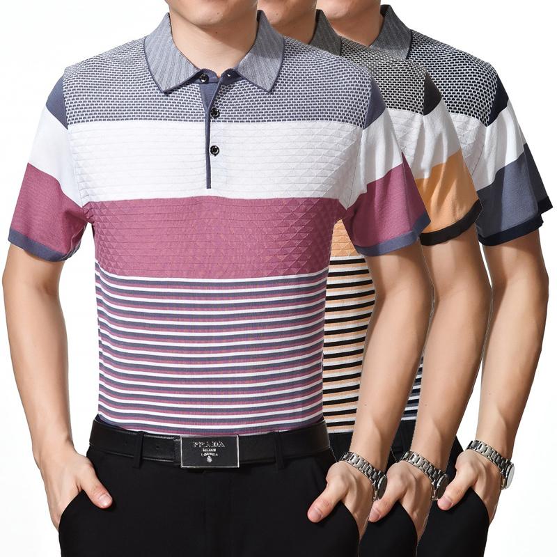 新款爸爸装短袖t恤中老年桑蚕丝男装宽松夏装半袖体恤衫翻领条纹