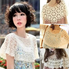 New Japanese gown short knit wild shawl openwork hook flower lace cardigan vest knit vest blouse