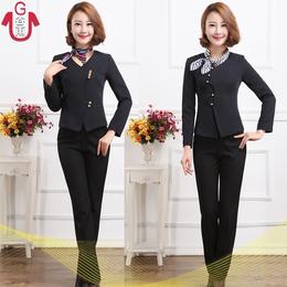 酒店经理工作服短袖套装 宾馆大堂经理前台接待夏装新款女职业装