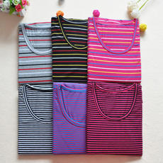 Ms. Qiuyi cotton large size striped Lycra cotton stretch plus fertilizer to increase round neck thermal underwear