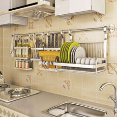 Punch-free kitchen pendant 304 stainless steel hanging rod kitchen dish rack drain kitchen hardware rack shelf wall