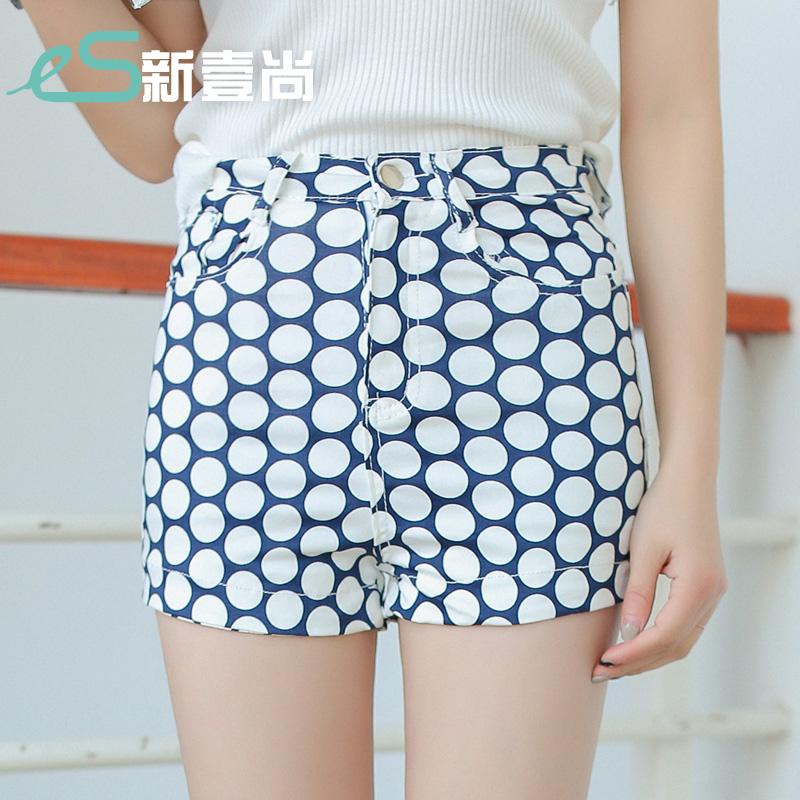 2016年夏季新款韩版女装波点热裤百搭下装直筒修身显瘦休闲女短裤