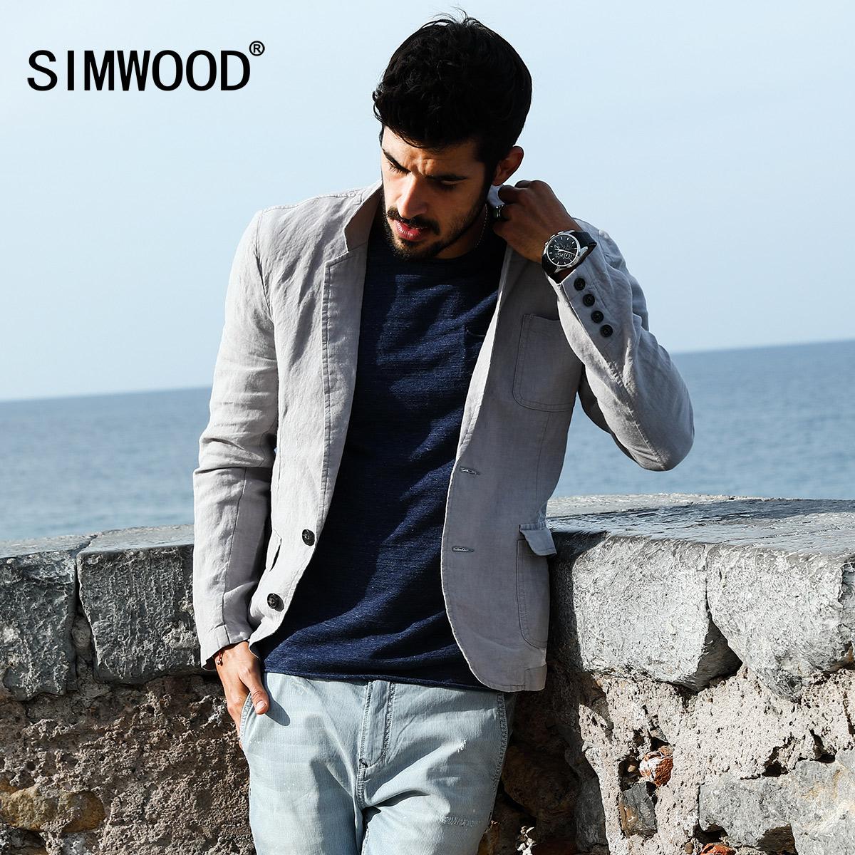 Simwood简木男装秋冬季新款薄亚麻修身单西服男士休闲小西装外套