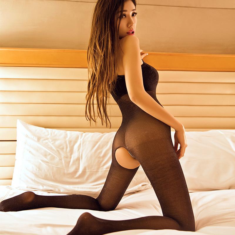 性感连体开档丝袜女士透明连裤袜极度诱惑开裆薄防勾丝情趣内衣