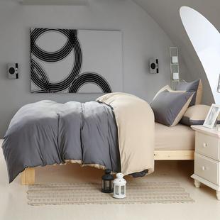 家纺简约全棉1.5m床1.8床笠4件套纯棉磨毛被套纯色四件套床上用品