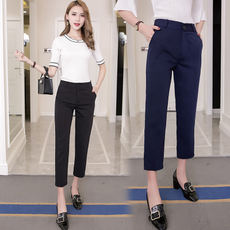 Korean version of the spring and summer straight suit pants female loose thin section black nine casual pants was thin feet harem pants tide