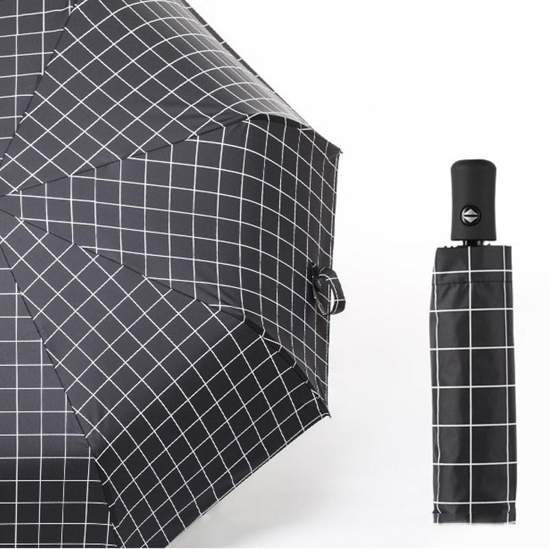 2018新款天唐 男女通用雨伞格子全自动折叠三折晴雨伞太阳伞黑胶
