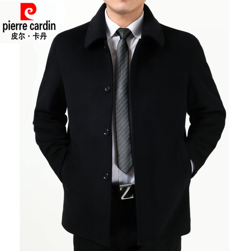 冬装新款爸爸装中年羊毛呢子大衣男士短款中老年宽松大码羊绒外套
