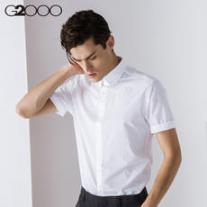 G2000 Summer White Shirt Men's Short Sleeve Slim Business Men's Tops Solid Color Dressing Work Thin Shirts