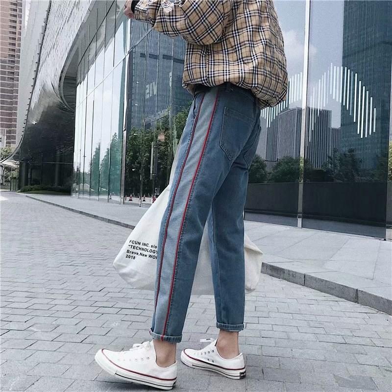 ins港风裤子男九分裤夏季宽松百搭哈伦裤原宿bf风学生直筒牛仔裤