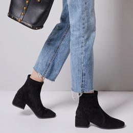 秋冬2018新款方跟马丁靴女网红短靴粗跟弹力靴中跟方头黑色瘦瘦靴
