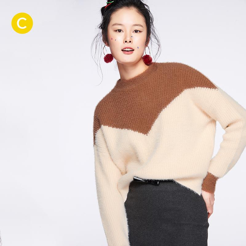 2017冬新款 cachecache 女士经典甜美拼色圆领加绒舒适保暖针织衫