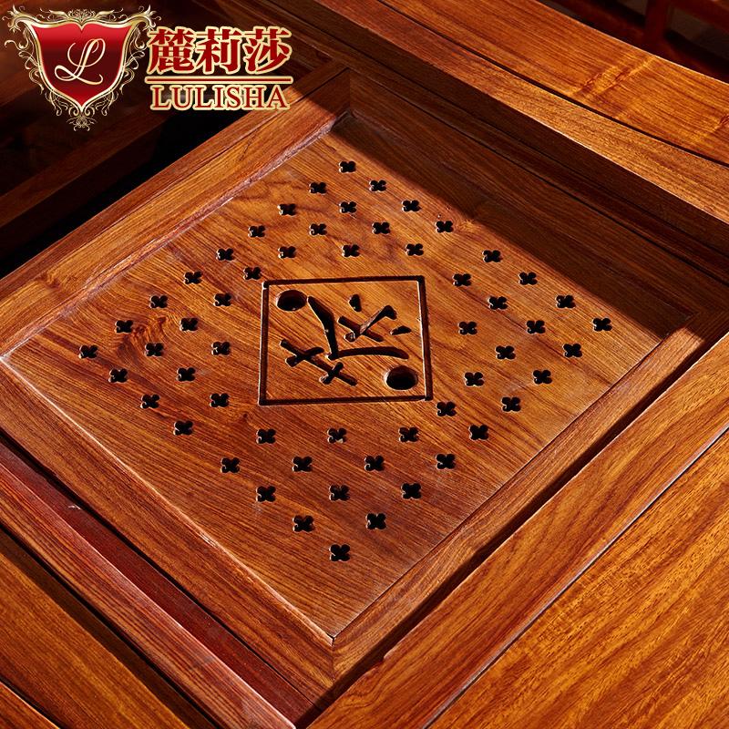 红木茶台茶桌椅组合 非洲花梨木功夫原木仿古中式实木泡茶桌