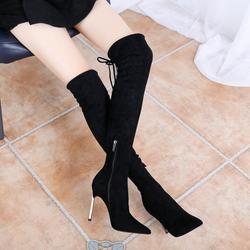 2018冬季新款细跟超高跟尖头弹力长筒靴过膝长靴女靴侧拉链高筒靴
