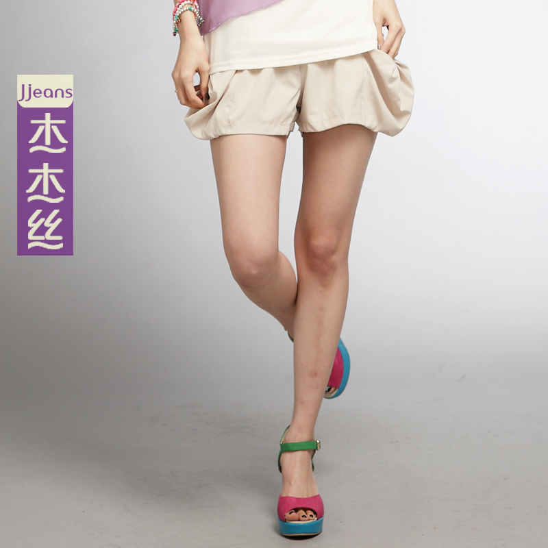 漫雨2 杰杰丝女装 韩版甜美百搭大花苞口袋短裤休闲裤 夏装